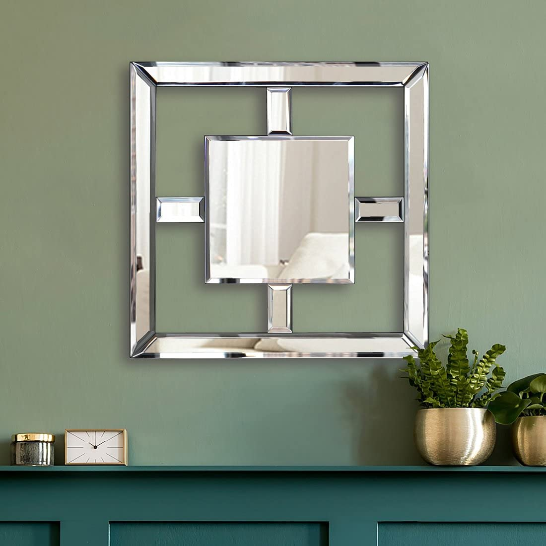 """Square Mirrored Wall Decor Decorative Mirror Wall-Mounted Accent Mirrors 12x12"""" Art Mirror Elegant Bevel in Exquisite Craft. Middle Square Shape"""