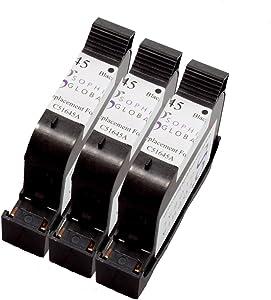 3 Pack. Refurbished cartridges for HP 45. Includes Sophia Global Brand Cartridges for 3ea HP 45 Black.