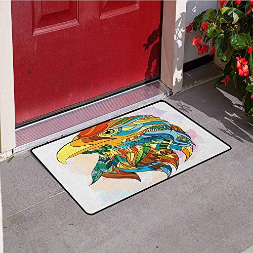 Gloria Johnson Eagle Inlet Outdoor Door mat Ethnic Inspired Bald Eagle Pattern with Oriental Color Scheme Flying Animal Design Catch dust Snow and mud W29.5 x L39.4 Inch -