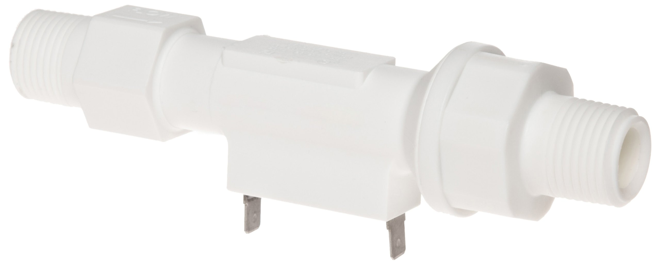Gems Sensors FS-150 Series Polypropylene Flow Switch with Low Pressure Drop, Inline, Piston Type, Normally Open, 0.5 gpm Flow Setting, 1/2'' NPT Male