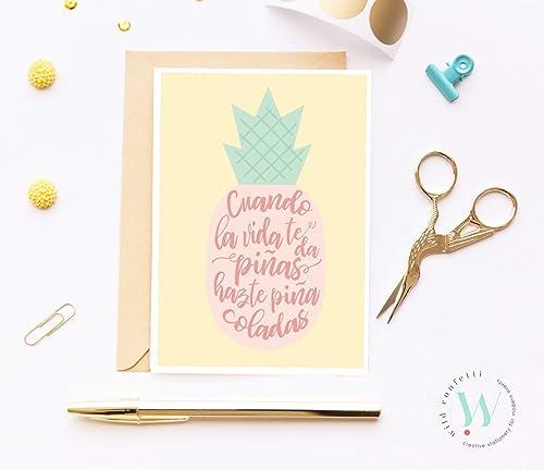Tarjeta de cumpleaños Original piña buenas vibraciones Tarjeta de ánimos Hazte piña colada