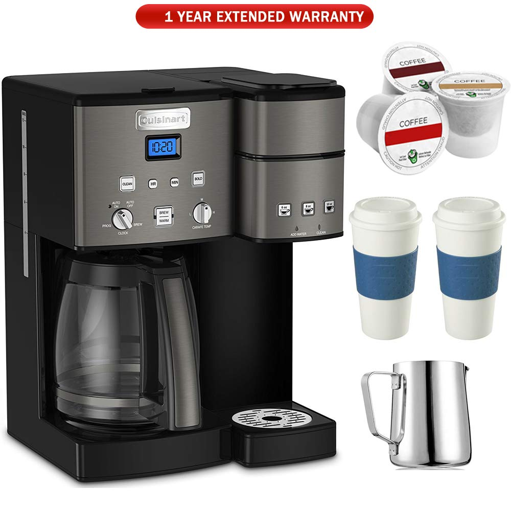 Cuisinart SS-15 12-Cup Coffee Maker and Single-Serve Brewer (Black), Stainless with K Cups, Carafe, to Go Cups and Extended Warranty
