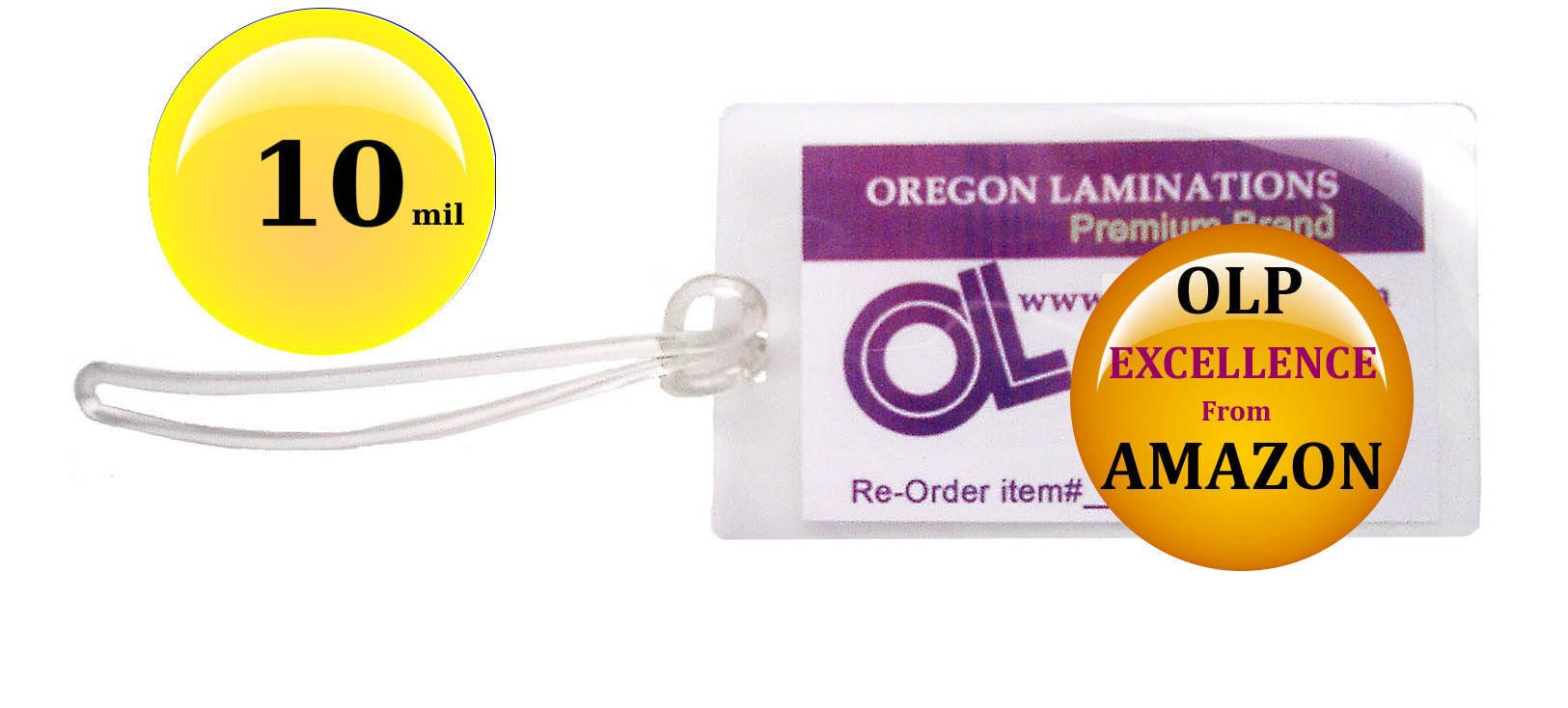 Qty 100 of Each, 10 Mil Luggage Tag Laminating Pouches & 6-inch Loops, 2-1/2 x 4-1/4 pre-Slotted by Oregon Lamination Premium