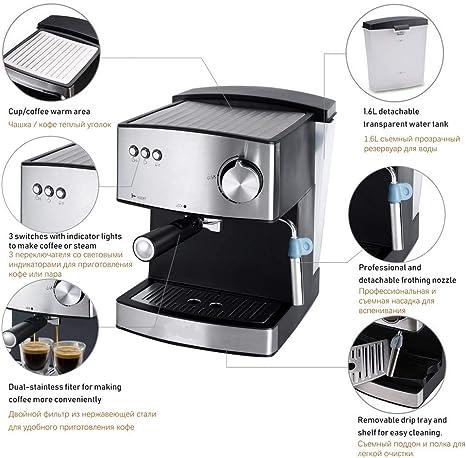 CTDMMJ Máquina de café eléctrica Espresso 1.6L Cafetera de Espuma eléctrica exprés Espumador de Leche eléctrico Electrodomésticos de Cocina 220V: Amazon.es: Deportes y aire libre