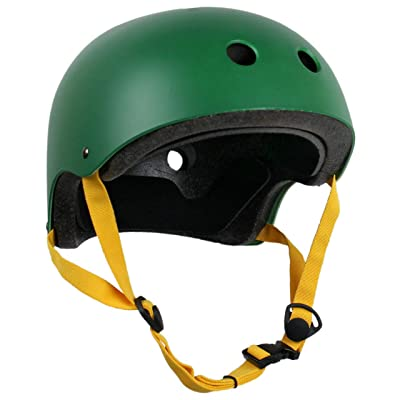 Krown CPSC Skateboard Fitness Inline Helmet Adult OSFA Hunter Green/Yellow : Sports & Outdoors