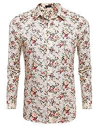 COOFANDY Men's Floral Cotton Fashion Slim Fit Long Sleeve Casual Button Down Shirt