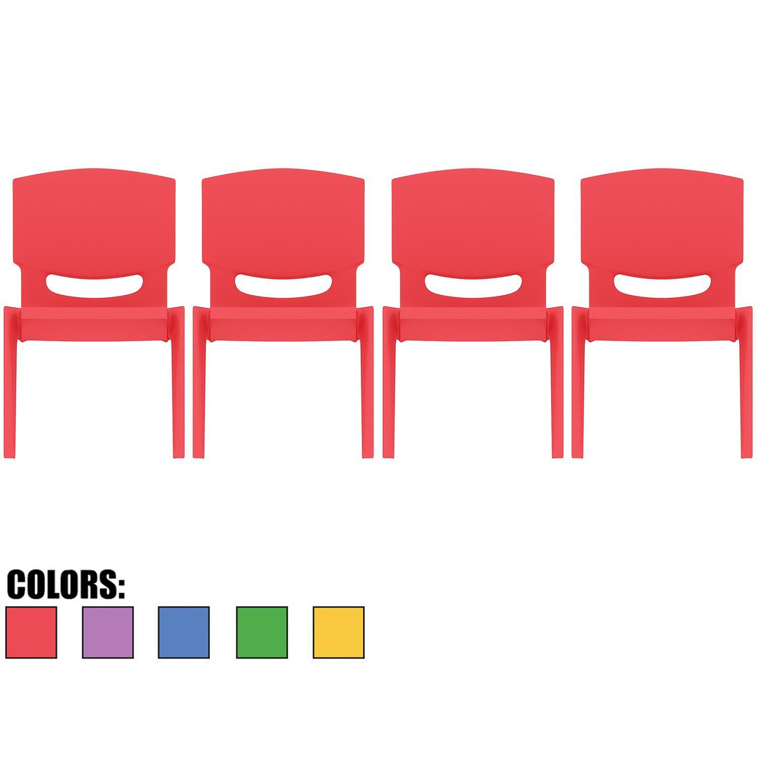 2xhome - Set of Four (4) - Red - Kids Size Plastic Side Chair 12'' Seat Height Red Childs Chair Childrens Room School Chairs No Arm Arms Armless Molded Plastic Seat Stackable