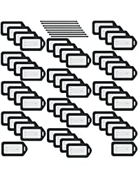 Luggage Tags (Black, 50 Pack), Suitcase Tag, Bag Tag for Luggage