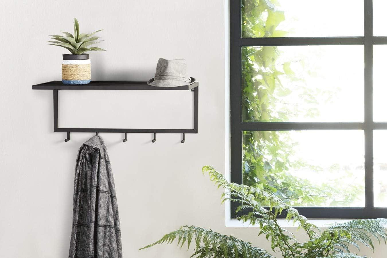 75 x 26 x 30 cm Black Wall Mounted Hooks with Shelf LIFA LIVING Wall Coat Rack Metal Shelving Bedroom Hook Rack for Hallway Entryway Vintage Jacket Storage