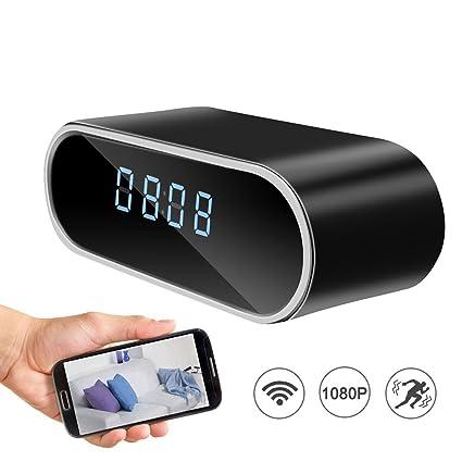 Cámara espía ocultada wifi del reloj de alarma, visión nocturna inalámbrica 1080P Cámara de vigilancia de ...