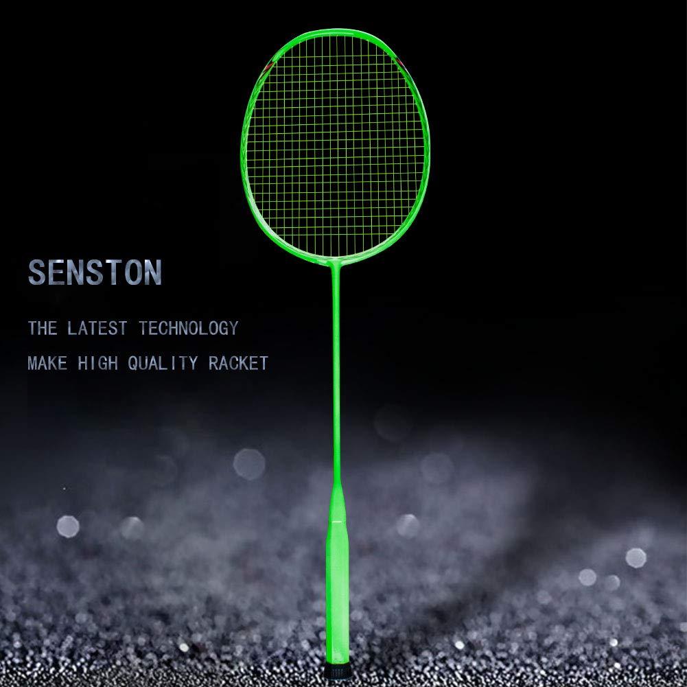 Senston N80-YT Jointless Badminton Racket Single High-Grade Badminton Racquet Carbon Fiber Badminton Racket Green with Racket Cover and Overgrip by Senston (Image #2)