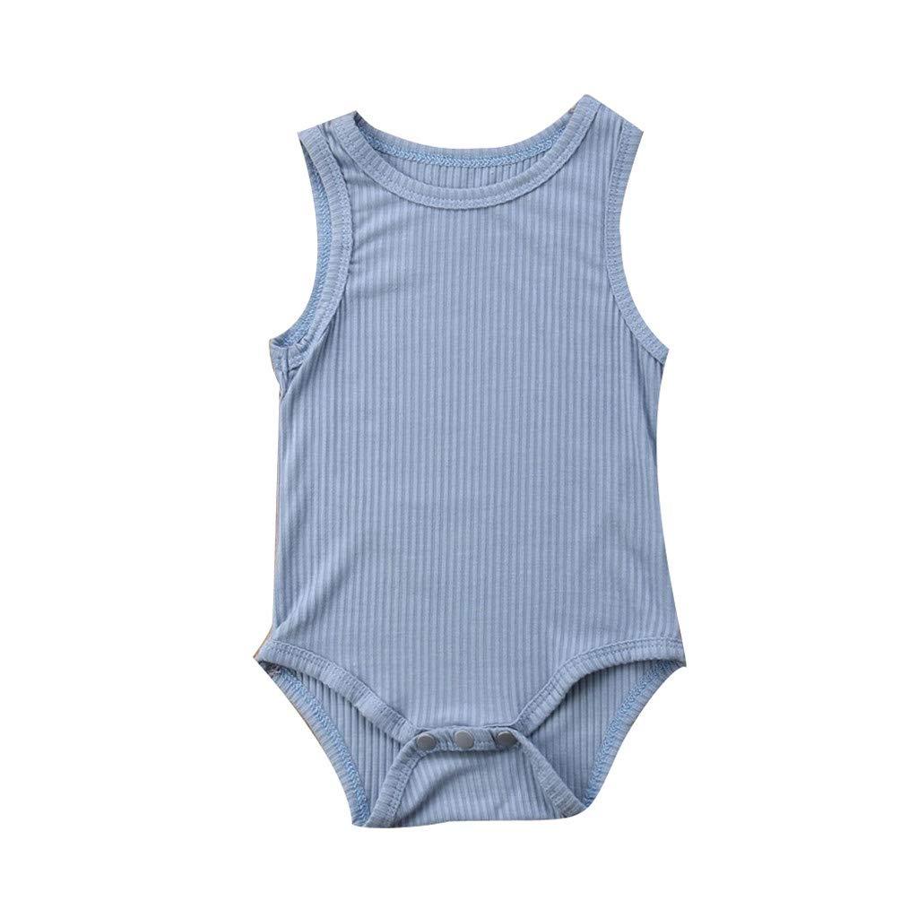 NUWFOR Toddler Baby Kids Girls Boys Sleeveless Solid Stripe Romper Sunsuit Bodysuit (Blue,12-18Months