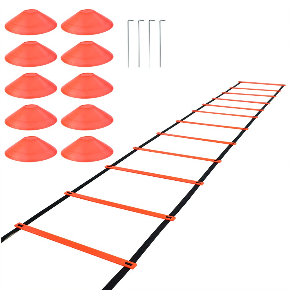 SUMERSHA Agility Ladder Speed Training Equipment Fitness Exercise Ladder for Soccer Football Basketball 20 Feet 12 Adjustable Rungs +10 Cones+4 Hooks with Carry Bag