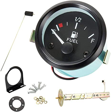 Black Faced Fuel Gauge Kit for Boats Fits Tanks 6 to 27 Inches Deep
