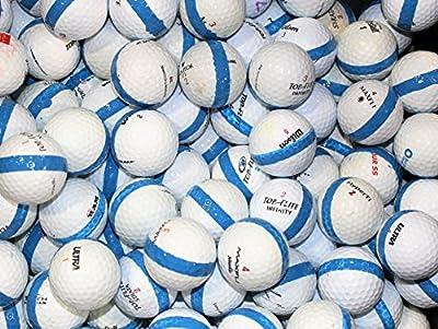300 Premium Assorted Blue Striped White Range Practice Golf Balls - Top Quality