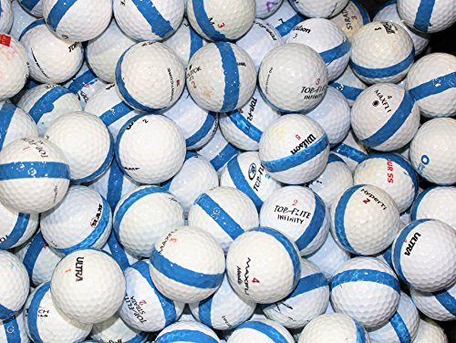 100 Premium Assorted Blue Striped White Range Practice Golf Balls - Top Quality ()