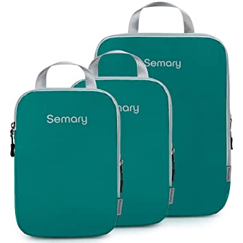 e60a216864d6 Compression Packing Cubes 3 Set Travel Organizer Accessories for Carryon  Luggage Suitcase & Backpack by Semary
