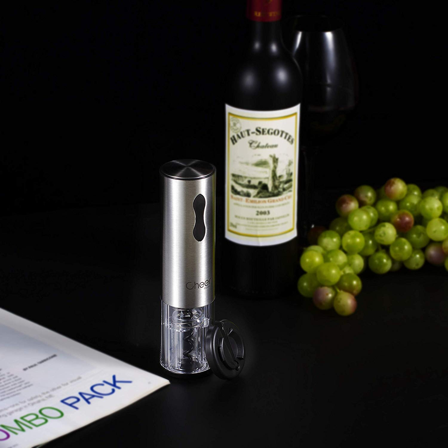 Electric Wine Opener Gift Set with Foil Cutter, Mini Wine Pump Sealer and Stopper with Date Marker, Wine Aerator Pourer and Batteries Included 7717-W102-03 by CHEER (Image #2)