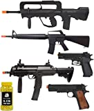 A&N Airsoft Bundle Starter Pack of 6 - Fully Automatic Electric Mini Airsoft Rifle - 2 x Spring Action Airsoft Rifles - 2 x Airsoft Sping Hand Pistol Airsoft 2000 Bulldog 0.12g BBs