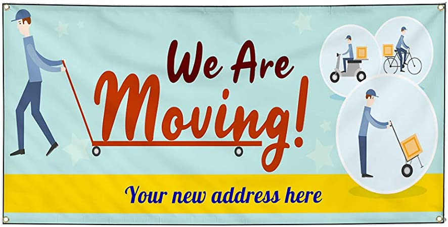 Business Moving Sign Outdoor Store Sign Yellow Set of 2 54inx36in Decal Sticker Multiple Sizes We are Moving