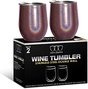 2 Pack Stainless Steel Wine Glass Tumbler with Lid, 12 oz Double Wall Vacuum Insulated Travel Tumbler Cup, Coffee Water Bottle Cup (Shimmer: Merlot)