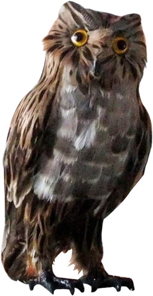 Queenbox Lifelike Owl Statue Sculpture Horned Owl Decoy Garden Home Decoration - 11 x 5.5 inches