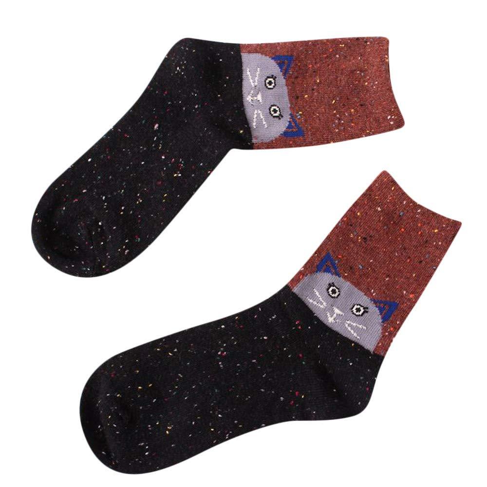 Christmas Long Socks,Women Girls Winter Warm Cartoon Xmas Elk Printed Leg Warmer Wool Stockings (Free Size, B)