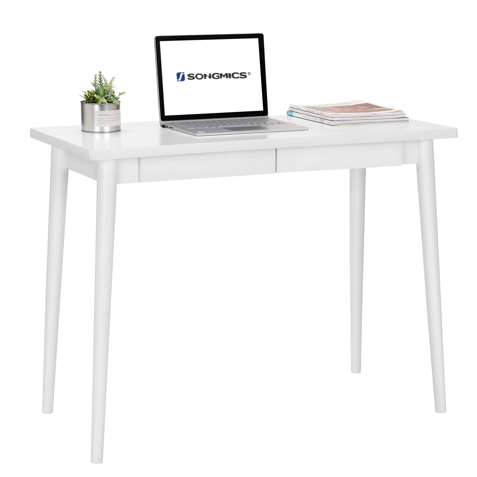 SONGMICS vanity Table ,Simple Wooden Writing Desk, Home Office Computer Desk, Study Desk with 2 Sliding Drawers, Modern desk with storage for home and Office, White ULOD02WT