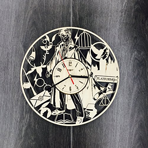 Harry Potter Wall Clock Made of WOOD – Perfect and Beautifully Cut – Decorate your Home with MODERN ART – UNIQUE GIFT for Him and Her – Size 12 Inches