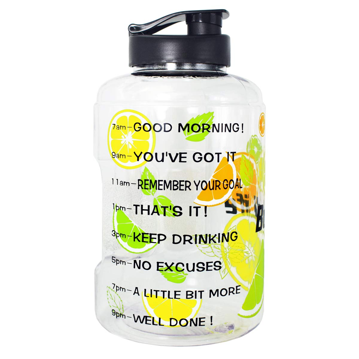BuildLife 1 Gallon(128OZ) Sports Water Bottle Inspirational Fitness Workout Wide Mouth with Time Marker for Measuring Your H2O Intake BPA Free (1 Gallon, Lemon)