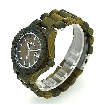 Bewell reloj de pulsera de madera de hombre hipoalergénico Reloj de madera natural con luminoso brazo