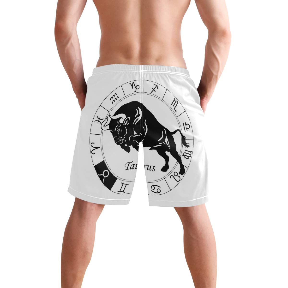 KVMV Mythical Centaur Motif with Zodiac Sign and Constellation Stars P 5size Beach Shorts