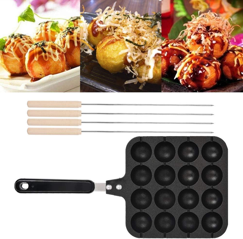 Takoyaki Maker Non-Stick Household Takoyaki Baking Mold 12 Ball for Gas Stove Easy to Clean with Baking Needle for Electric Oven