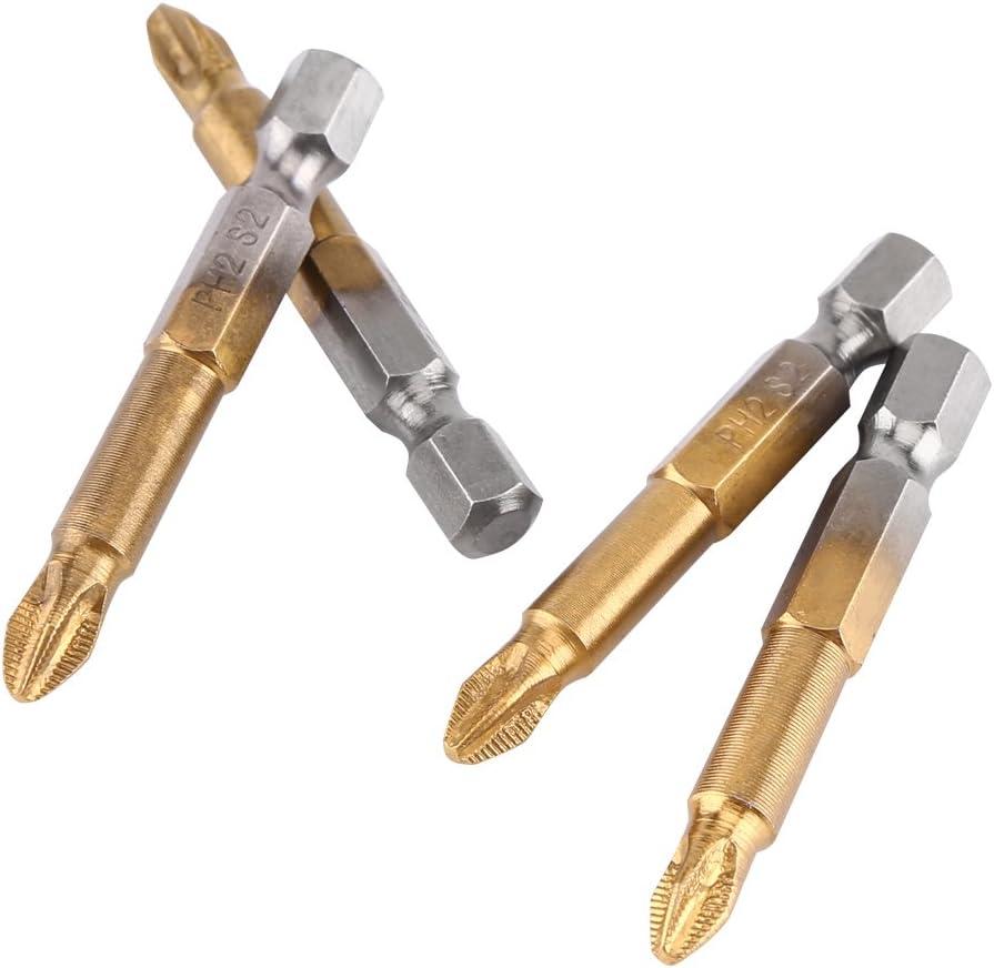 10 unids Destornilladores Phillips Set PH2 1//4 Pulgadas V/ástago Hexagonal Destornillador de Cabeza Cruzada Bits antideslizante 50mm