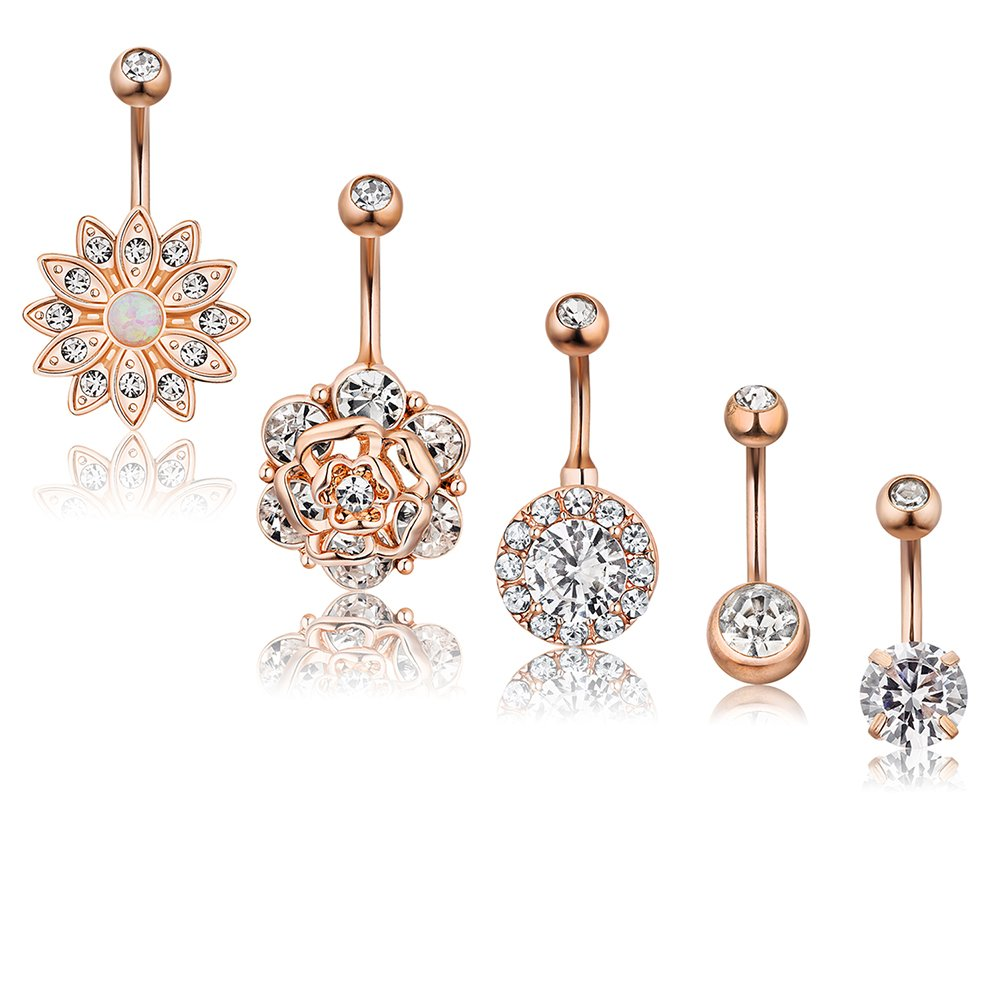 AnotherKiss 5Pcs Belly Button Rings Rose Gold Barbell Navel Rings CZ Body Piercing for Women