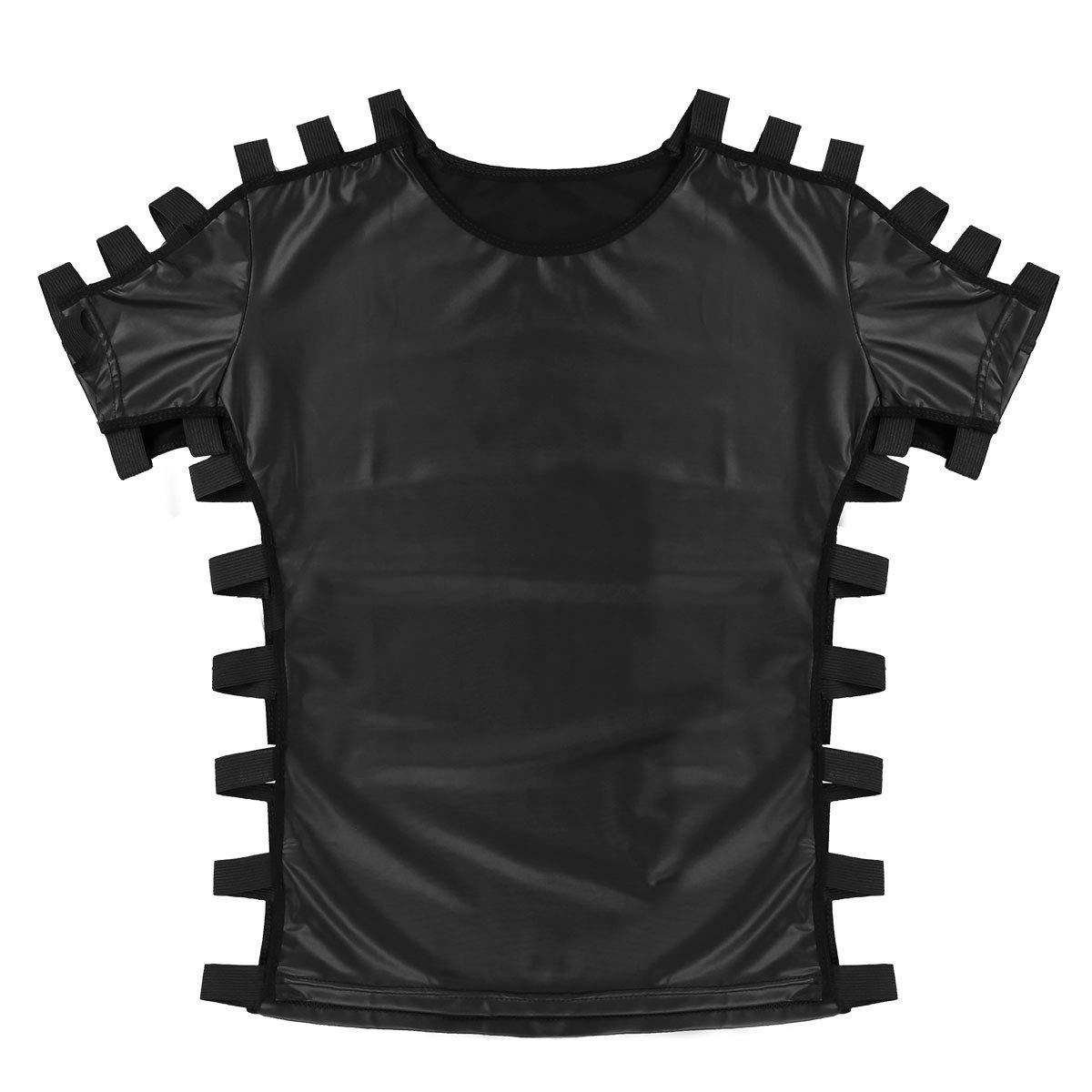 IEFIEL Camiseta De Cuero Elástica Casual Polo Slim Estilo Moda ...