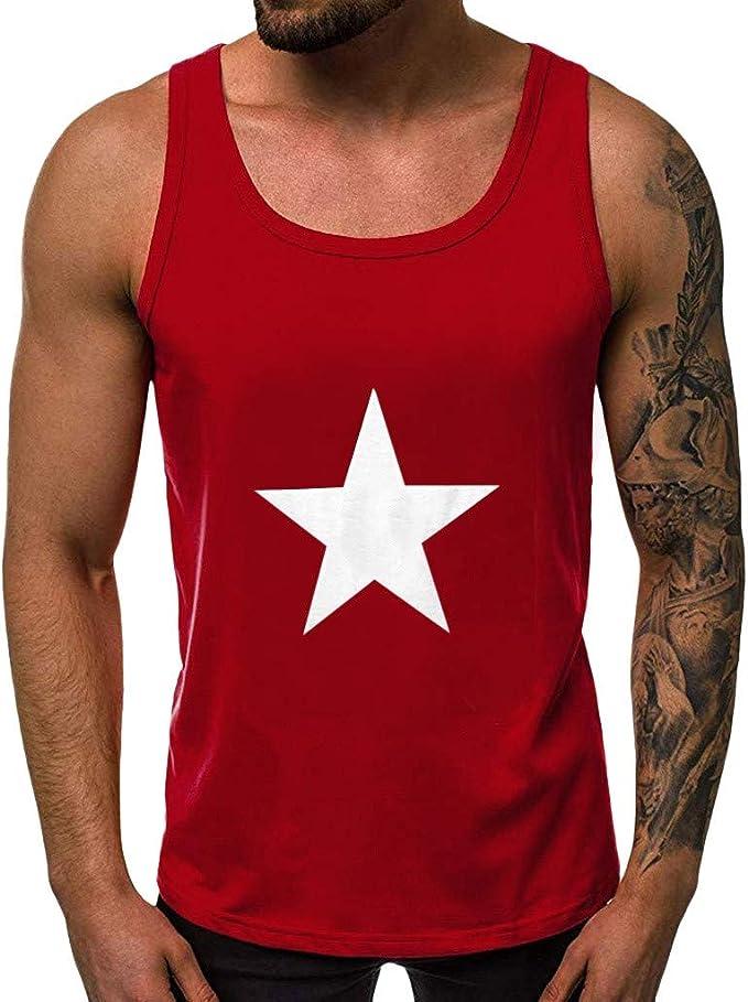 TUDUZ Hombres De Tirantes Estampado de Estrellas Camisetas Sin Mangas De Culturismo Tank Top: Amazon.es: Ropa y accesorios
