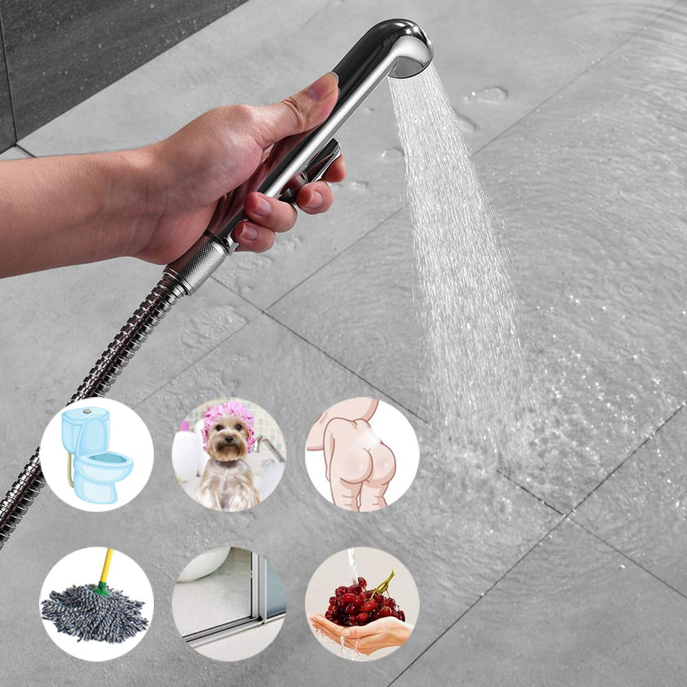 REWEE Hand Held Bidet Sprayer for Toilet Portable Bidet Faucet Baby Cloth Diaper Sprayer Kit Chrome