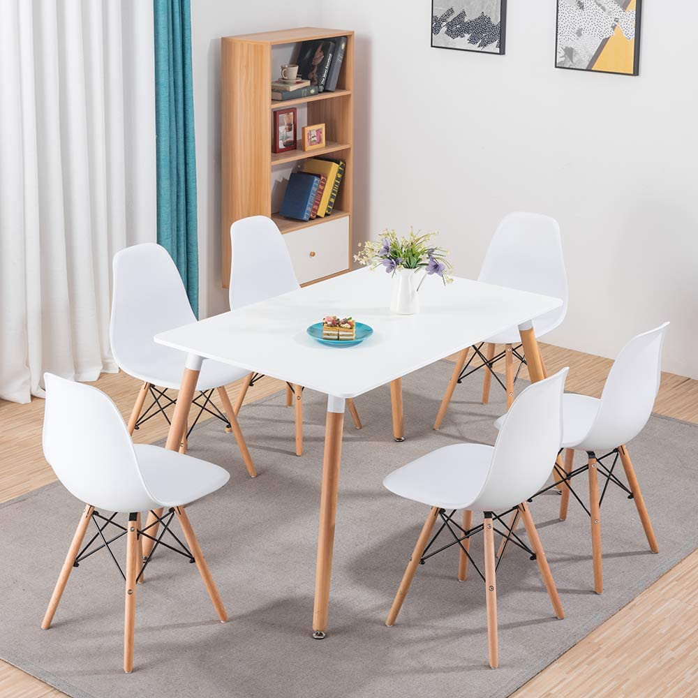 Volitation Wood Dining Table And Chairs Set 6 Modern Kitchen Furniture Table Set Lounge Table For Office White 120cm X 80cm Dining Room Sets Dining Room Furniture