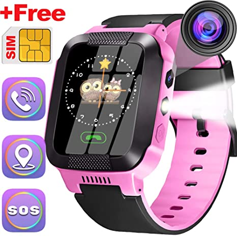 Kids Smartwatch With SIM Card Best GPS Tracker 3-12 Year Old Boys Girls Child Phone Watch with Digital Camera Touchscreen SOS Games Childrens Sports ...