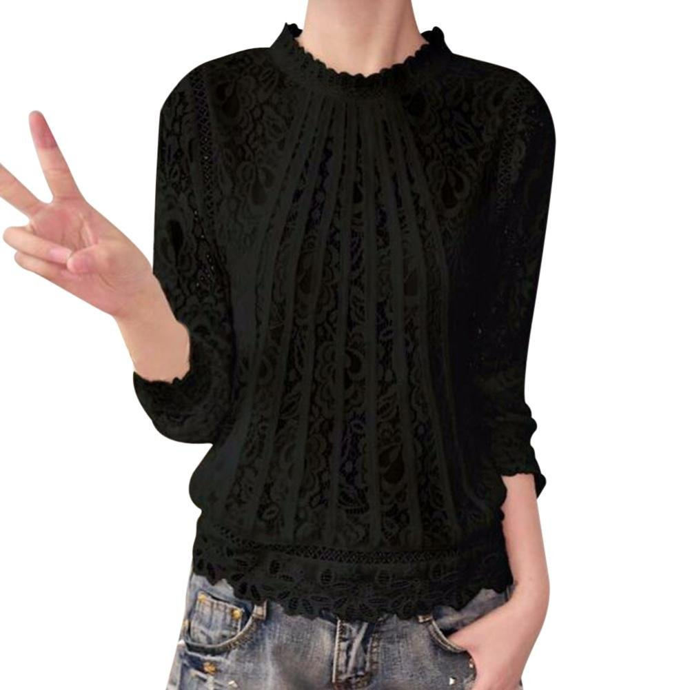 Bafaretk Fashion Womens Solid T-Shirt Long Sleeve Pleated O Neck Blouse Lace Casual Tops (XL, Black)