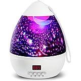 Lámpara Proyector,Iluminación Romántica con Rotación 360 Grados de Estrellas y Cosmos,Lámpara de Nochecon con Control de Temporizador, USB & Pilas y 8 Modos para Niños, Novia, Cumpleaños y Fiesta