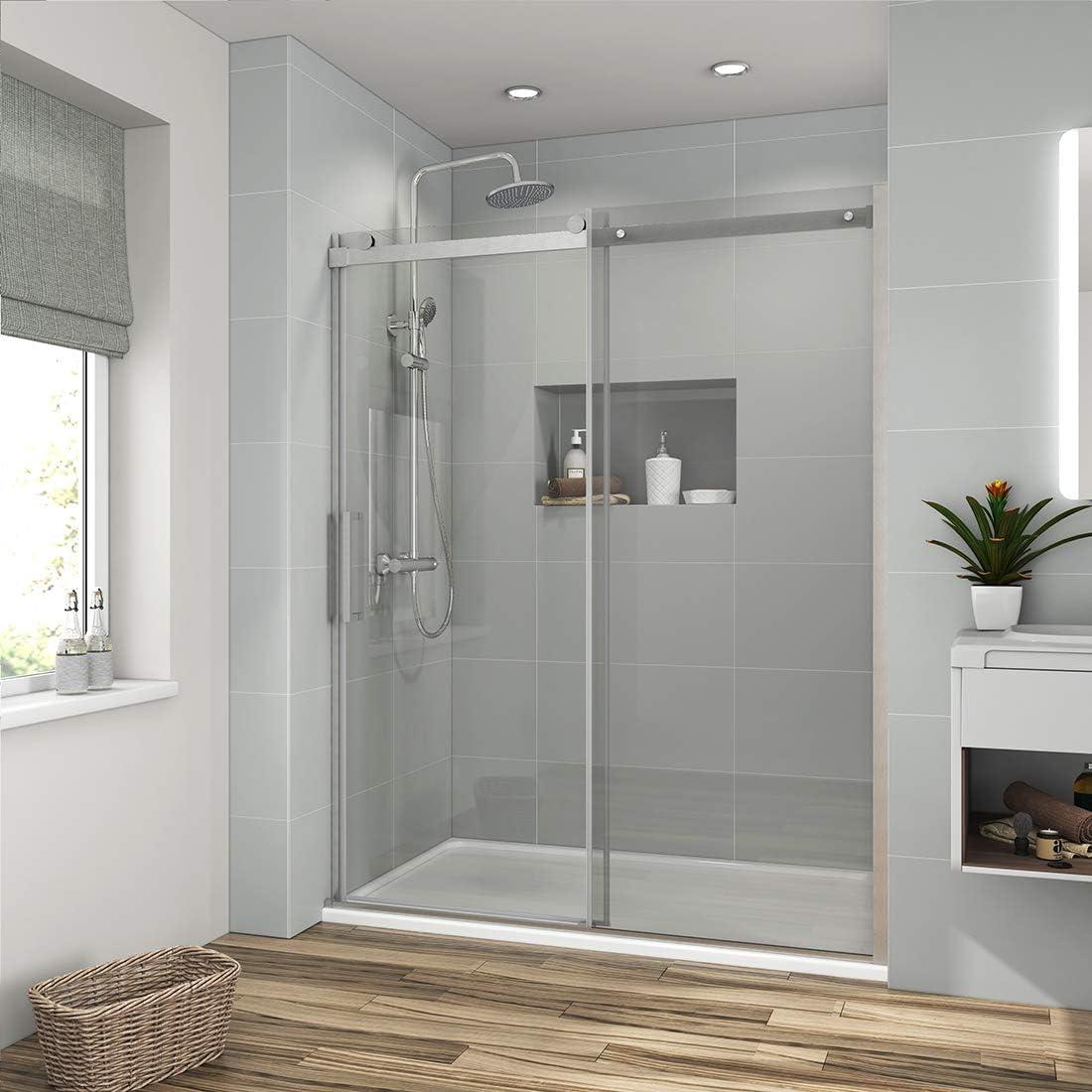 Meykoers Puerta corredera de ducha sin marco, 1/3 pulgadas, vidrio ...