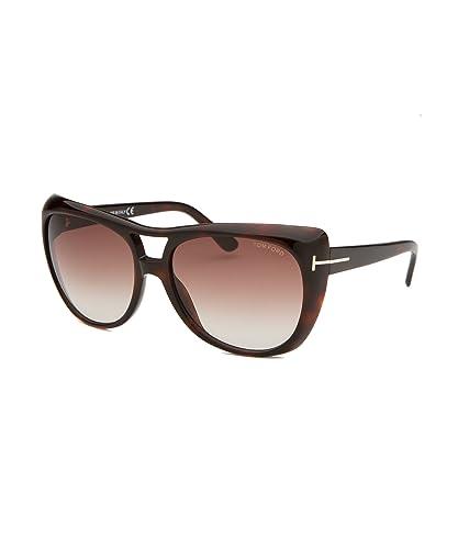 5f157a175e94 Amazon.com  Tom Ford TF 294 S 52F Claudette Brown Full Rim Oversized  Aviator Sunglasses  Shoes