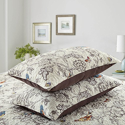 Vintage Floral Quilt Set King Cotton Bedspread Set Beige Brown Reversible Quilt Coverlet Set Luxury Birds Flower Butterfly Printed Quilt Set, Soft and Warm Autumn Winter Quilt Comforter Set by AMWAN (Image #5)