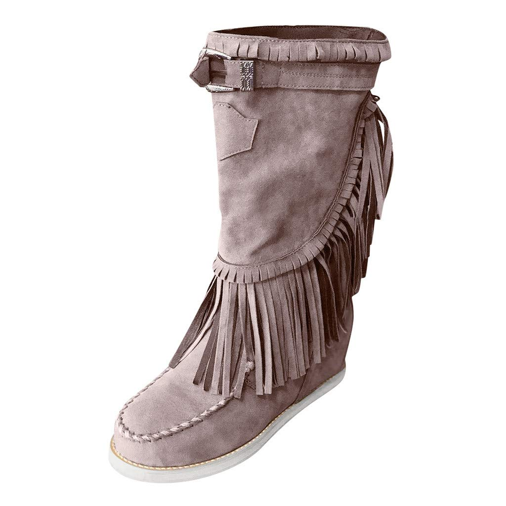 LATINDAY 2019 Autumn Bohemian Boots Women Ethnic Tassel Fringe Faux Suede Leather Mid Half Boots Gray by LATINDAY ➜ Shoes Accessory