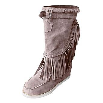 Mymyguoe Mujeres Damas Botas de Nieve Zapatos Talla Grande Botas de Mujer de Invierno Botas de Altas Botas largas Botines Planas Botas de Tubo Corto Botines de Mujer con Tacon Casuales: Amazon.es: