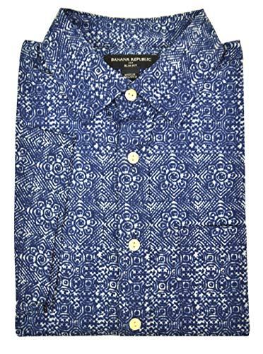 - Banana Republic Slim-Fit Cotton Short Sleeve Button Down Shirt Dark Blue Floral (Medium)