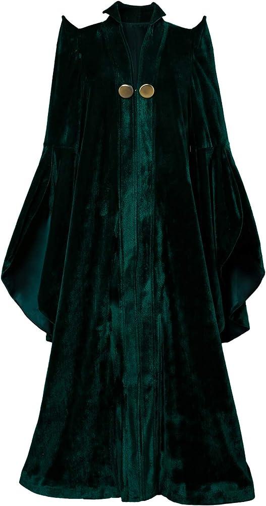 xiemushop Disfraz de Profesor de Cine Cosplay de Mago de Las Mujeres Vestido de Terciopelo Verde