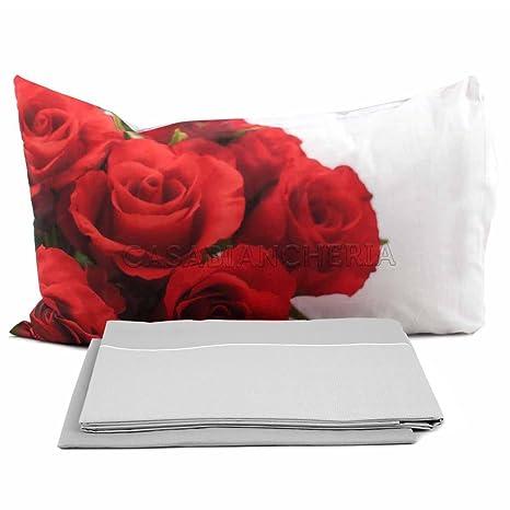 Lenzuola Matrimoniali Con Rose Rosse.Completo Lenzuola Rose Rosse A Stampa Digitale Solo Su